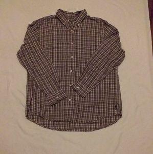 Men's Chap's plaid button up shirt, sz L